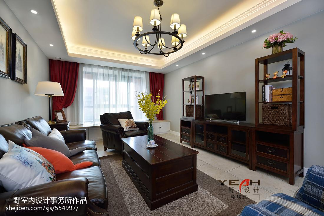 精美108平方三居客厅美式装饰图