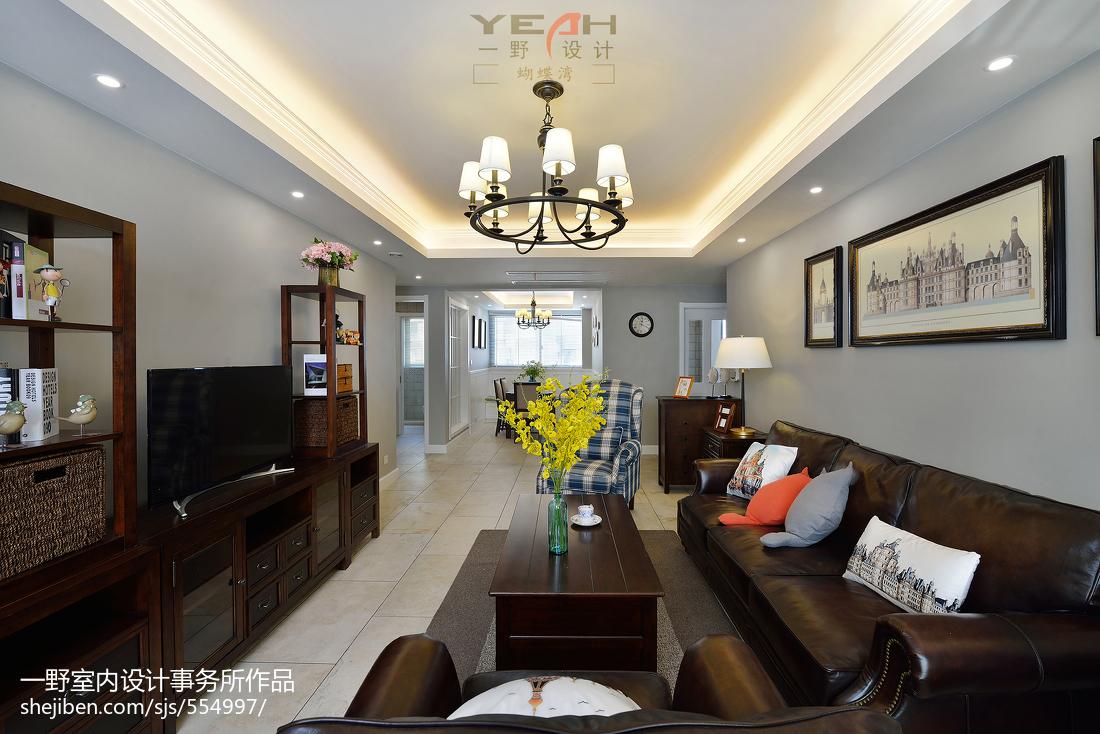 精选107平米三居客厅美式装修实景图片大全