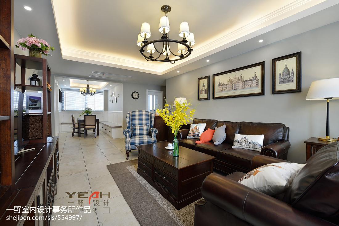 华丽119平美式三居客厅设计图