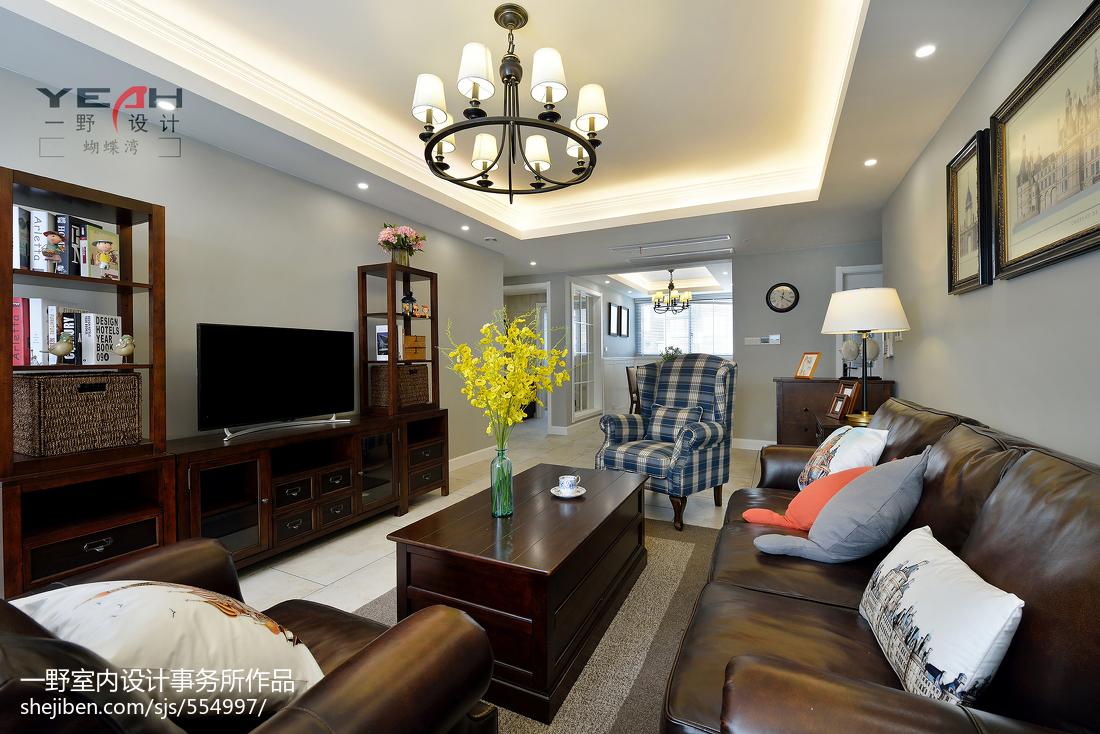 2018面积99平美式三居客厅装修欣赏图片大全
