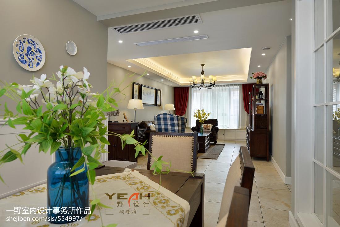 热门面积91平美式三居客厅效果图片
