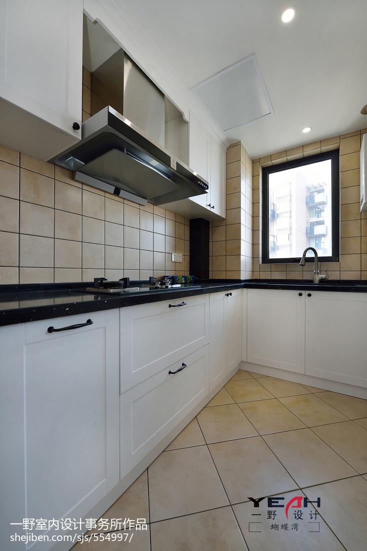 面积105平美式三居厨房效果图片