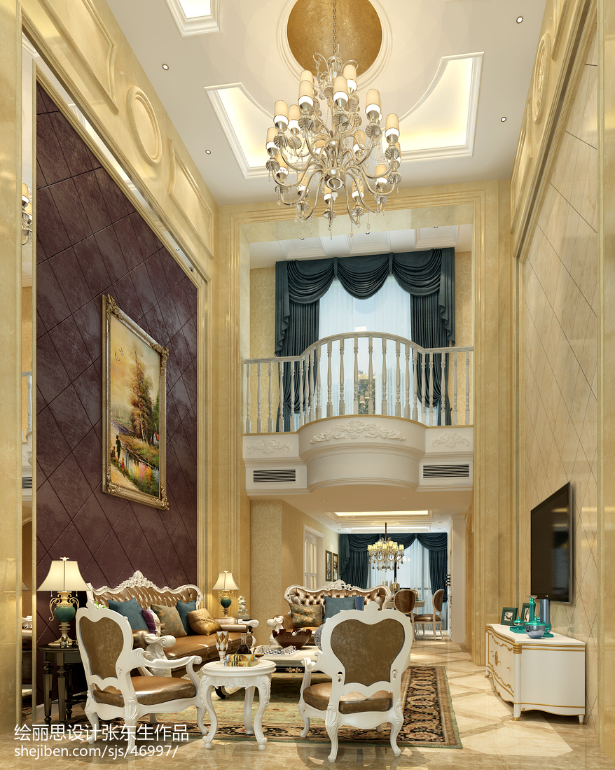 热门142平米欧式复式客厅设计效果图
