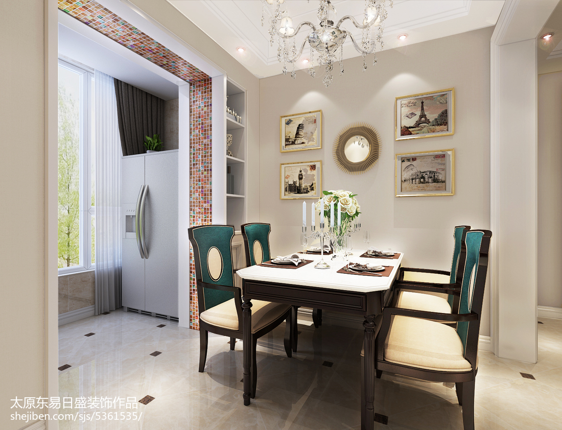 热门面积109平欧式三居餐厅装修图片