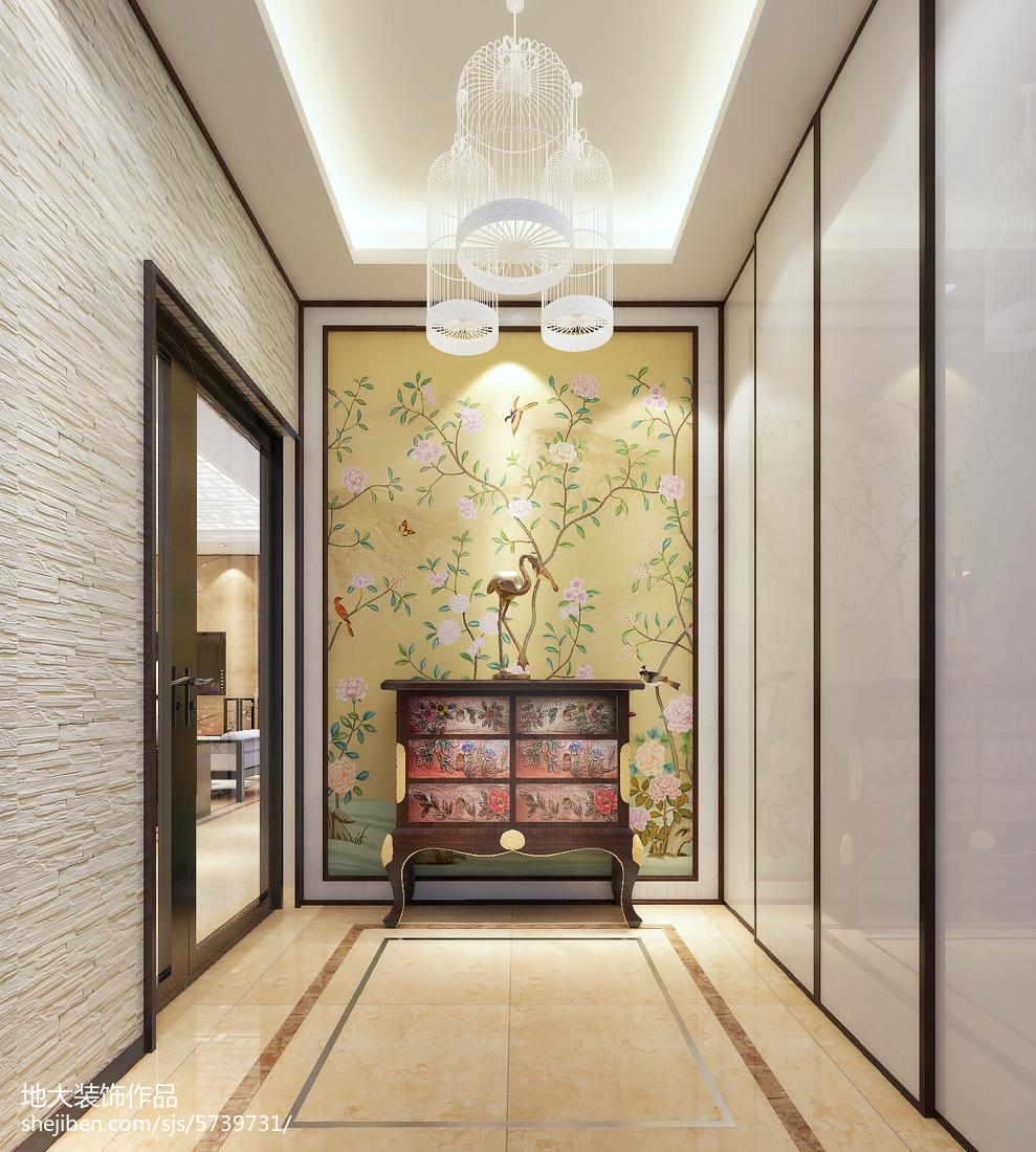 2018面积104平中式三居玄关装修设计效果图片欣赏
