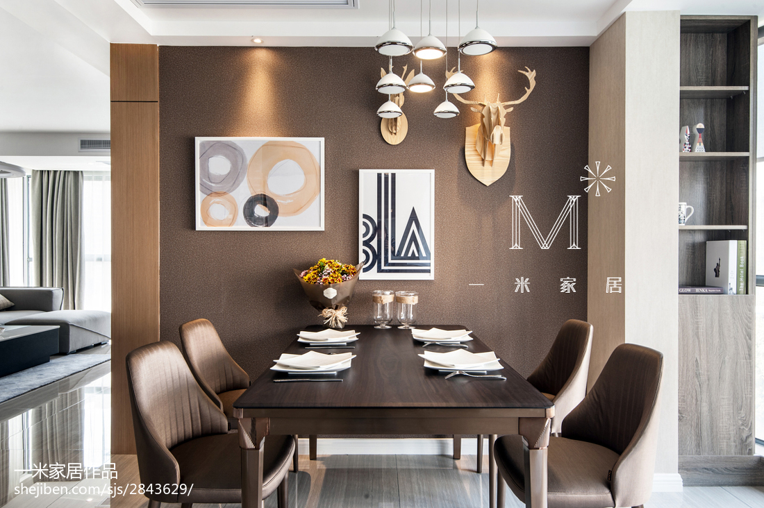 138m2現代簡約餐廳背景墻效果圖