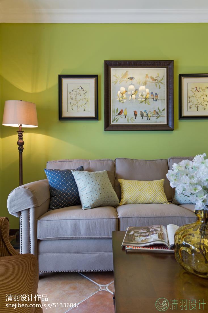精美二居客厅美式装修效果图片大全
