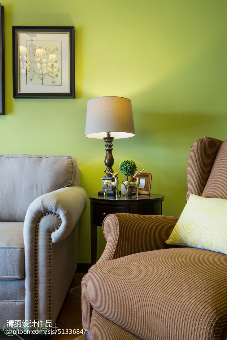 精致69平美式二居客厅装修案例