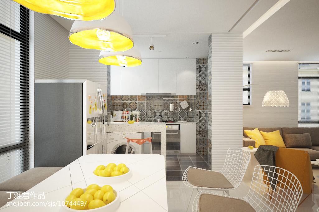 萤黄色打造现代简约风格复式楼厨房装修效果图大全