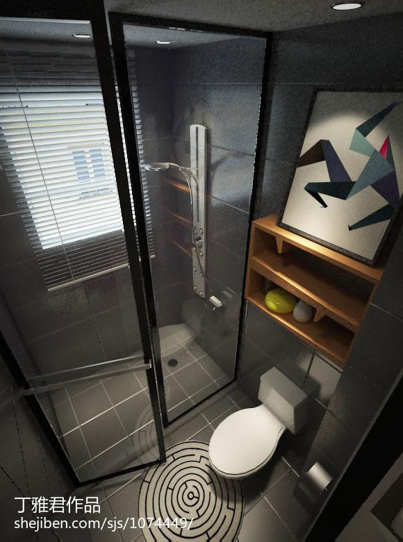 萤黄色打造现代简约风格复式楼卫生间装修效果图大全