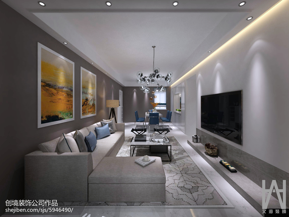 精选面积94平现代三居客厅装修图片大全