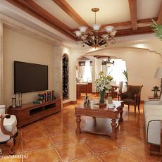 2018面积107平美式三居客厅装修设计效果图片大全