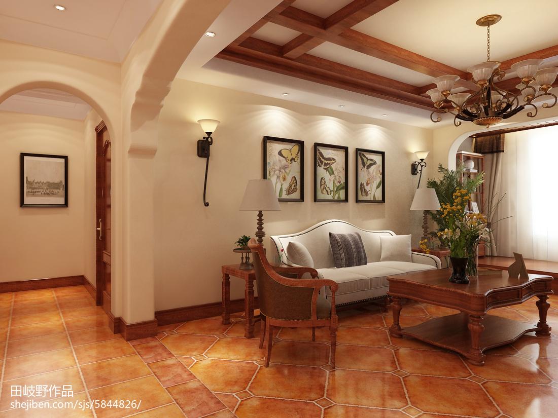 精美面积103平美式三居客厅装饰图片