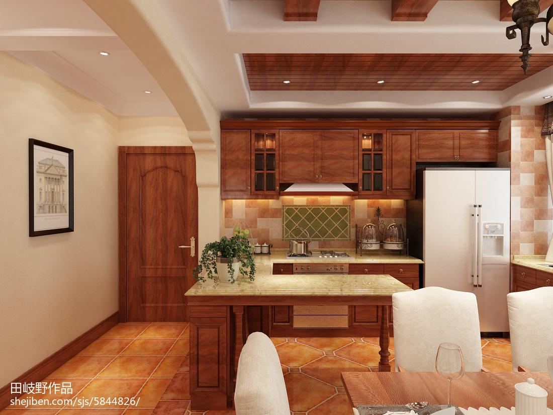 精选面积91平美式三居厨房装修效果图片欣赏