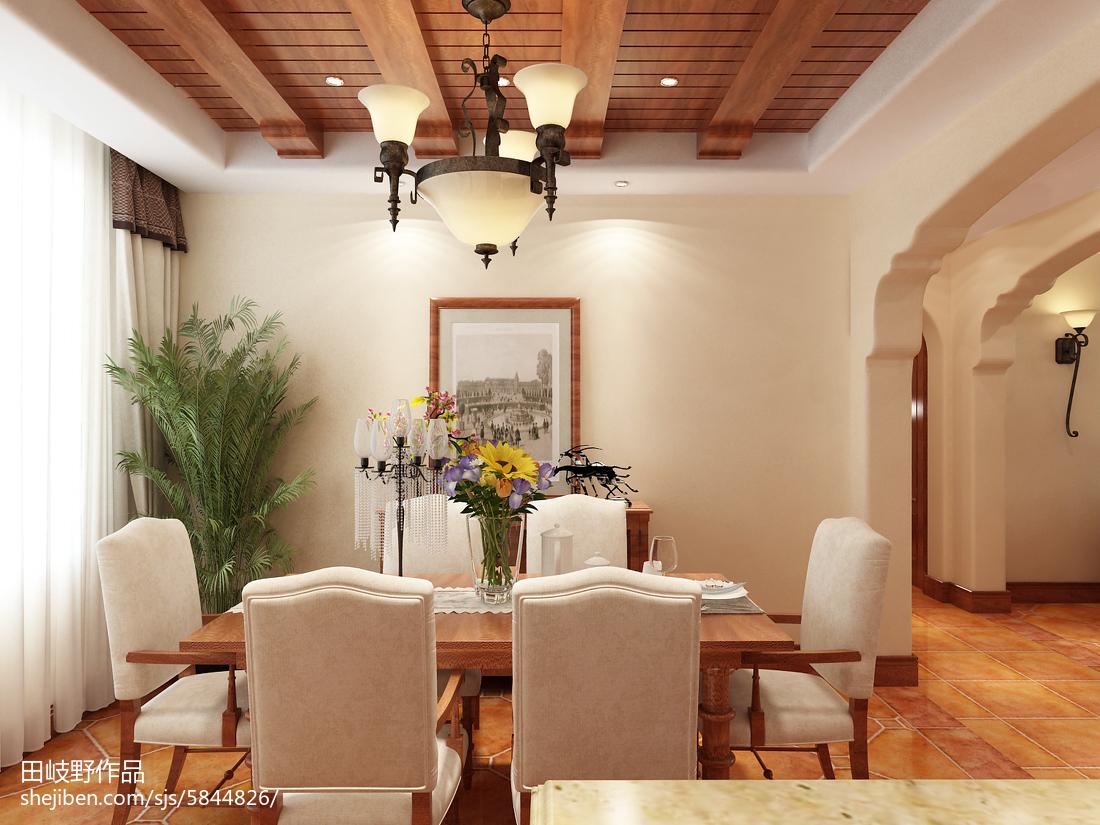 2018精选面积108平美式三居餐厅装修实景图