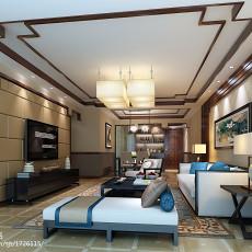 面积109平中式三居客厅装修效果图片欣赏