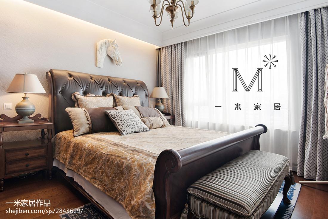 2018精选面积96平美式三居卧室装修实景图