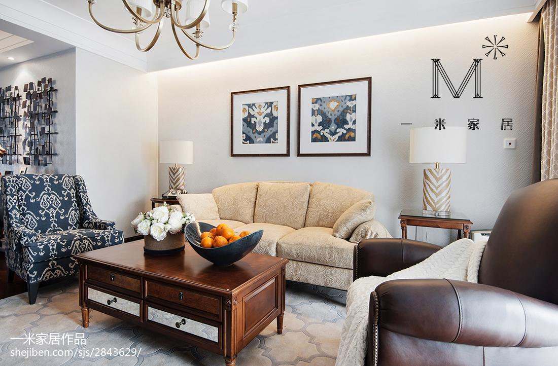 精选面积106平美式三居客厅装修效果图片