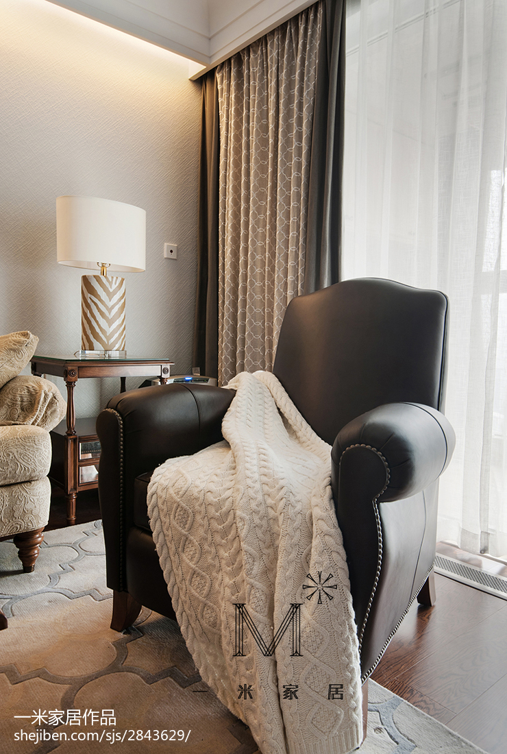 面积95平美式三居客厅效果图片大全