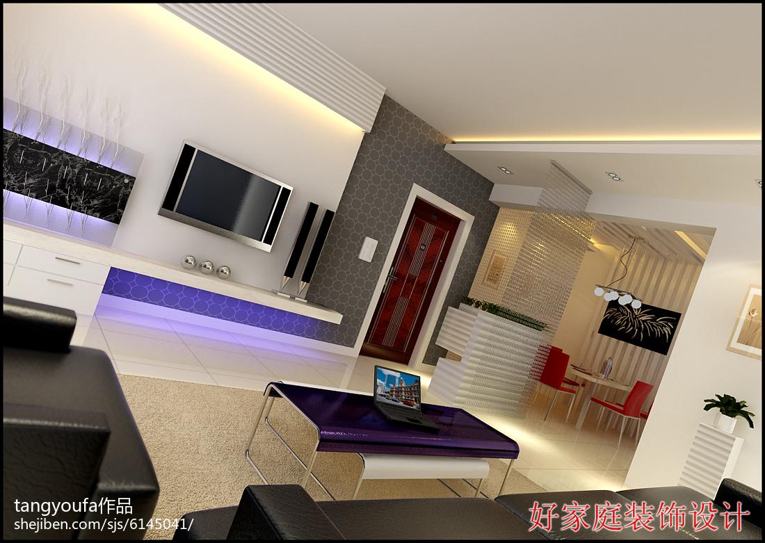 精美99平米三居客厅简约装修图