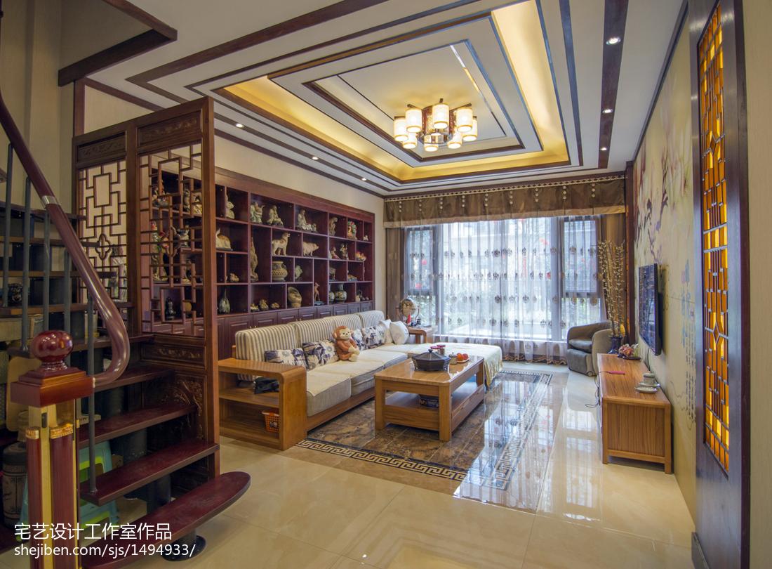 精美大小123平别墅客厅中式实景图