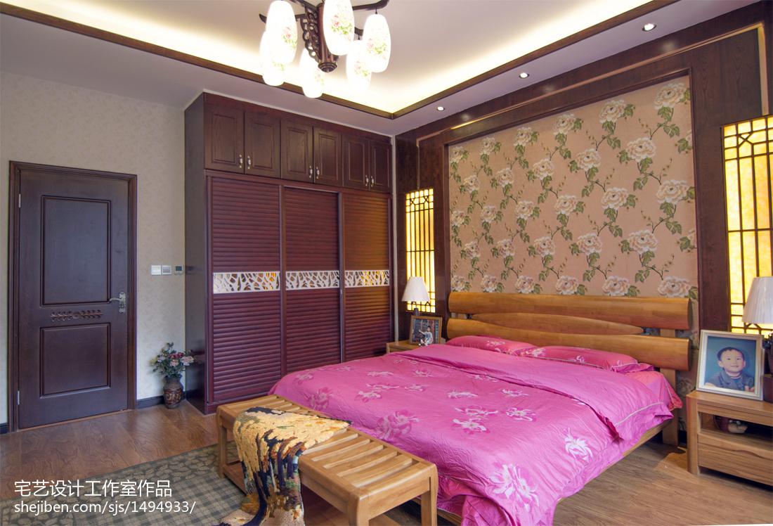 面积131平别墅卧室中式装修效果图片欣赏