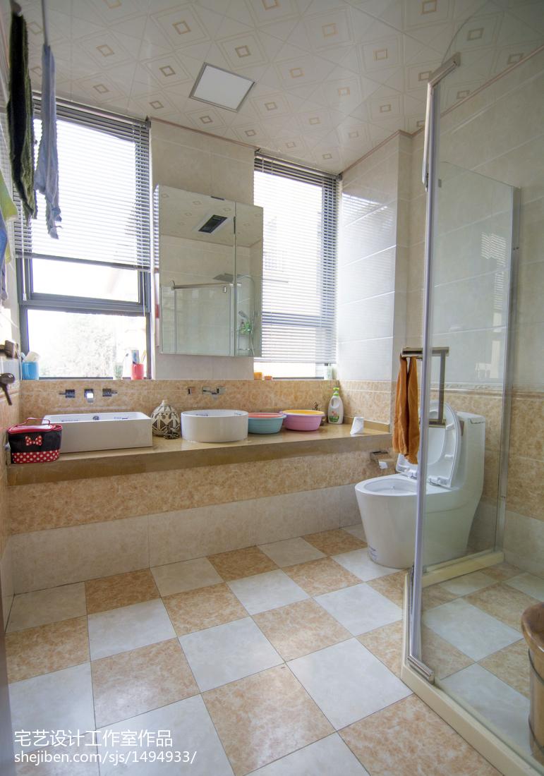 精美面积125平别墅卫生间中式装修图片欣赏
