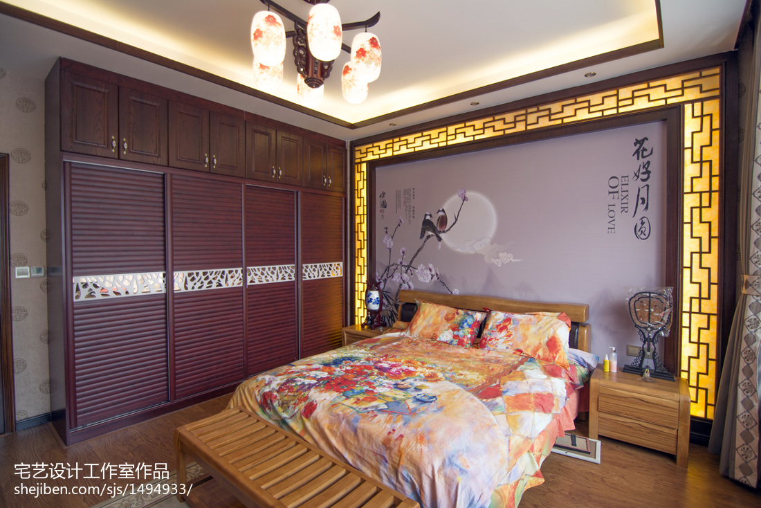 精选129平米中式别墅卧室欣赏图