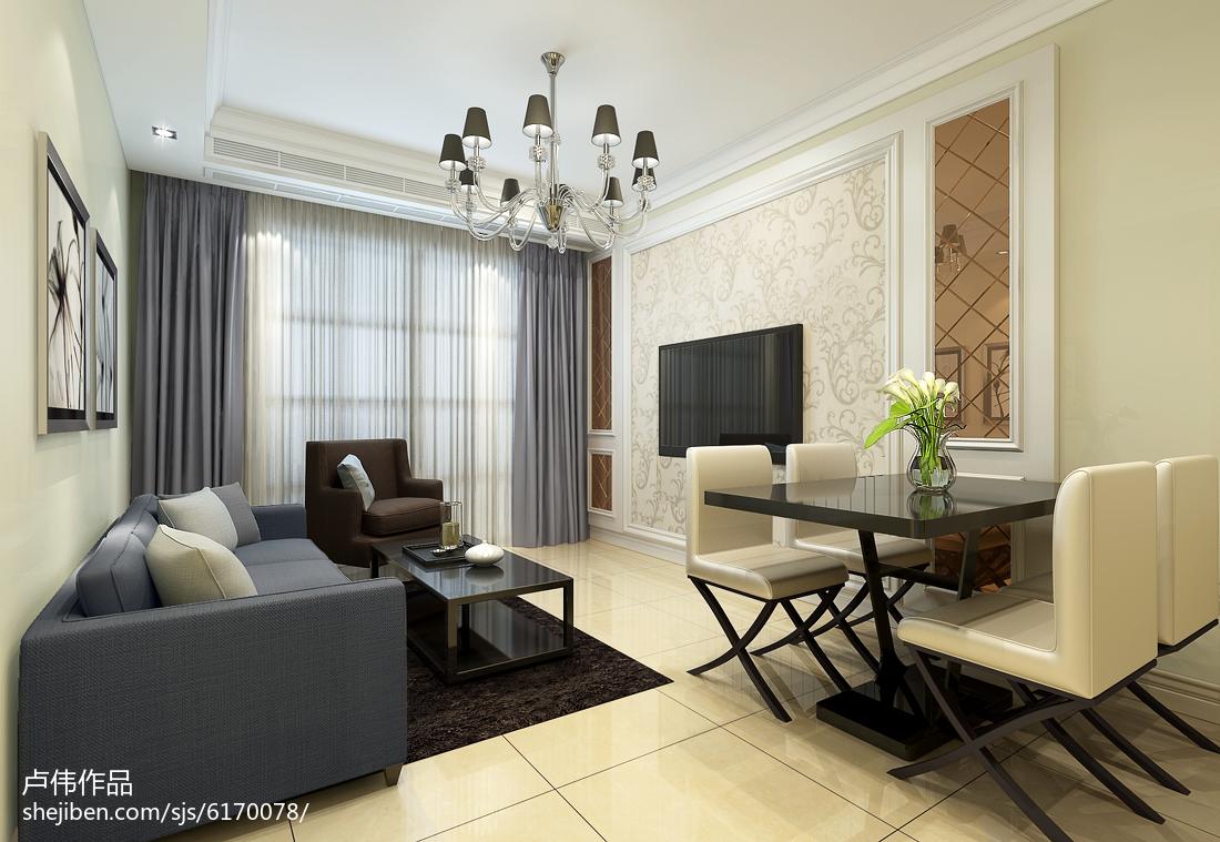 72平米二居客厅现代装修设计效果图片大全
