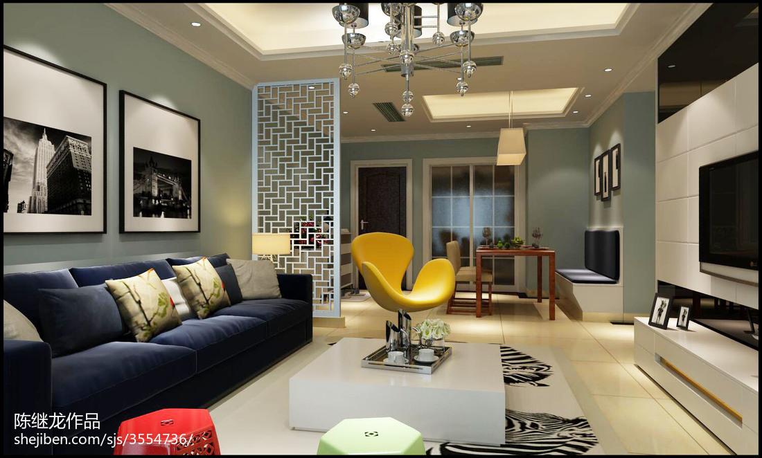 最热107平米三居客厅简约装饰图片大全