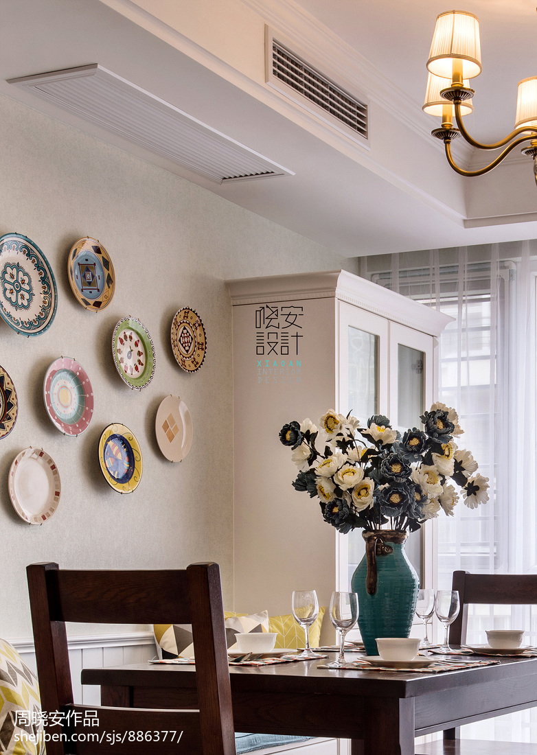 精致100平美式三居餐厅设计图