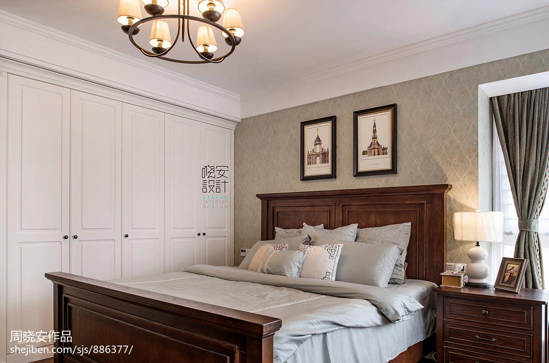 悠雅99平美式三居卧室装修设计图