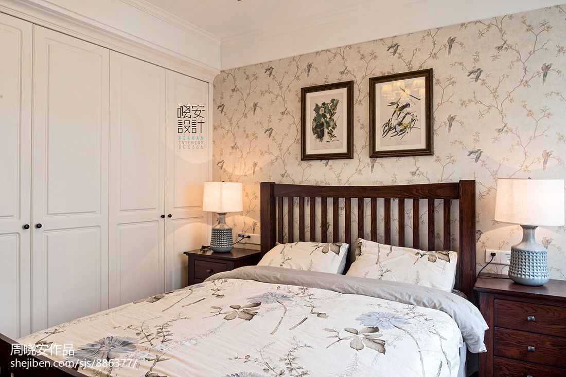 温馨88平美式三居卧室装饰图