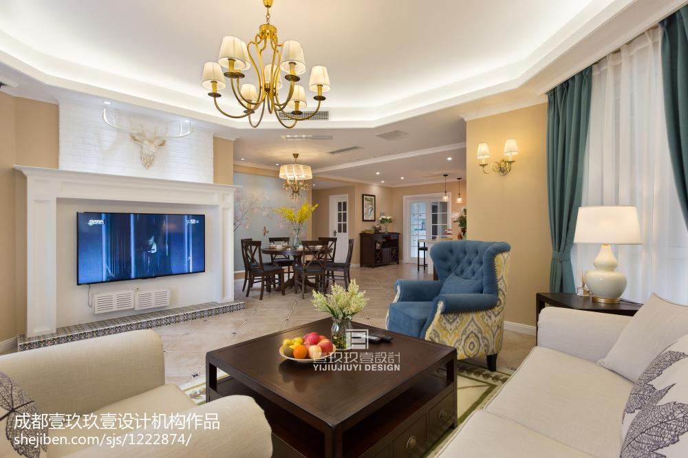 温馨109平美式三居客厅装修图