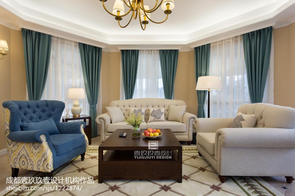 热门93平方三居客厅美式装修欣赏图片大全