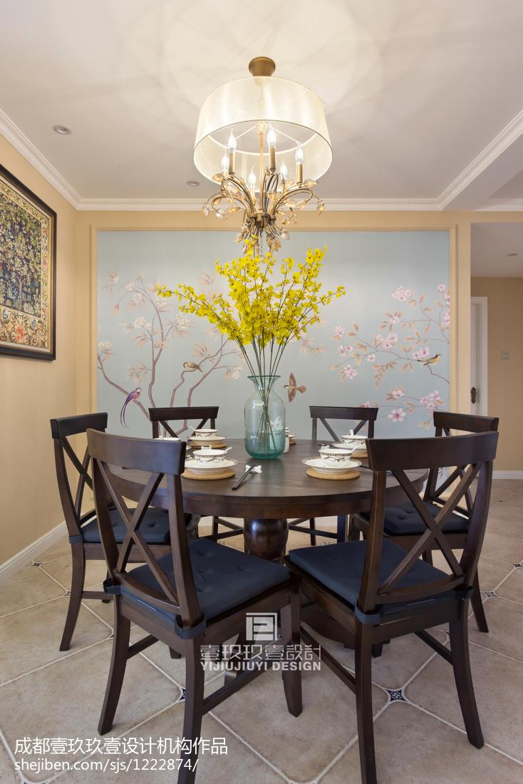 精选面积101平美式三居餐厅装修图片