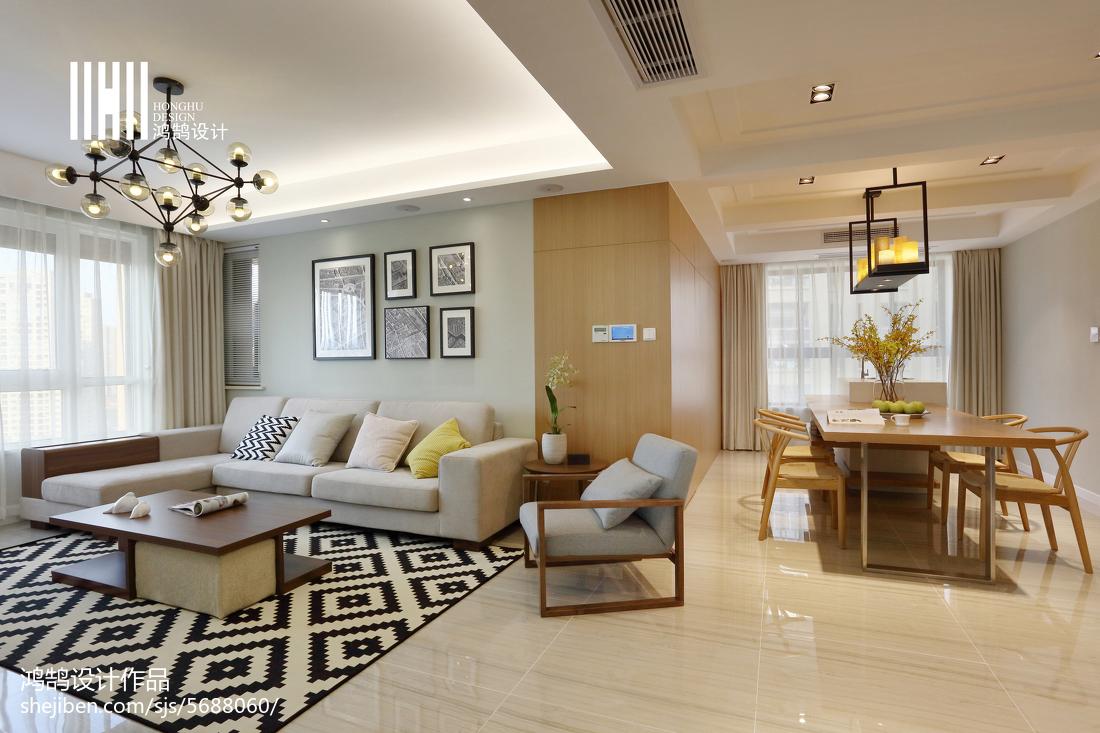 热门96平米三居客厅简约装修设计效果图片欣赏