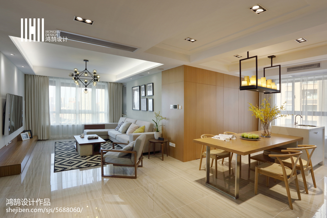 热门面积98平简约三居餐厅装修设计效果图