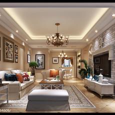 精美面积128平复式客厅美式实景图片