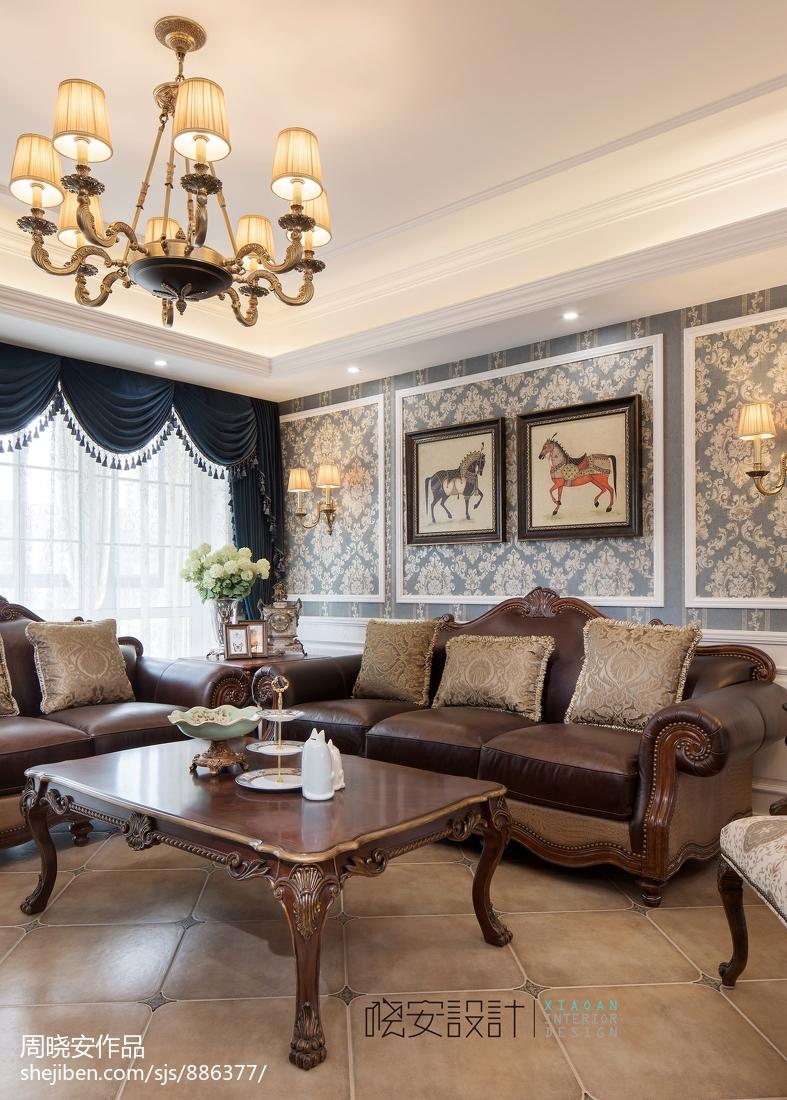 明亮79平美式复式客厅设计效果图