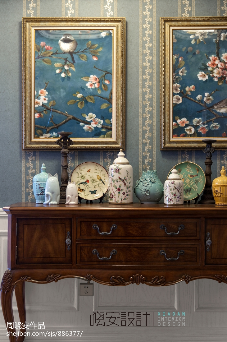 优美42平美式复式客厅装潢图