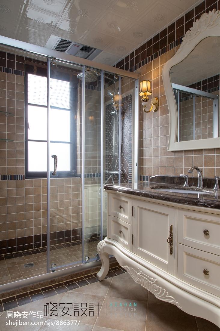 悠雅76平美式复式卫生间设计图