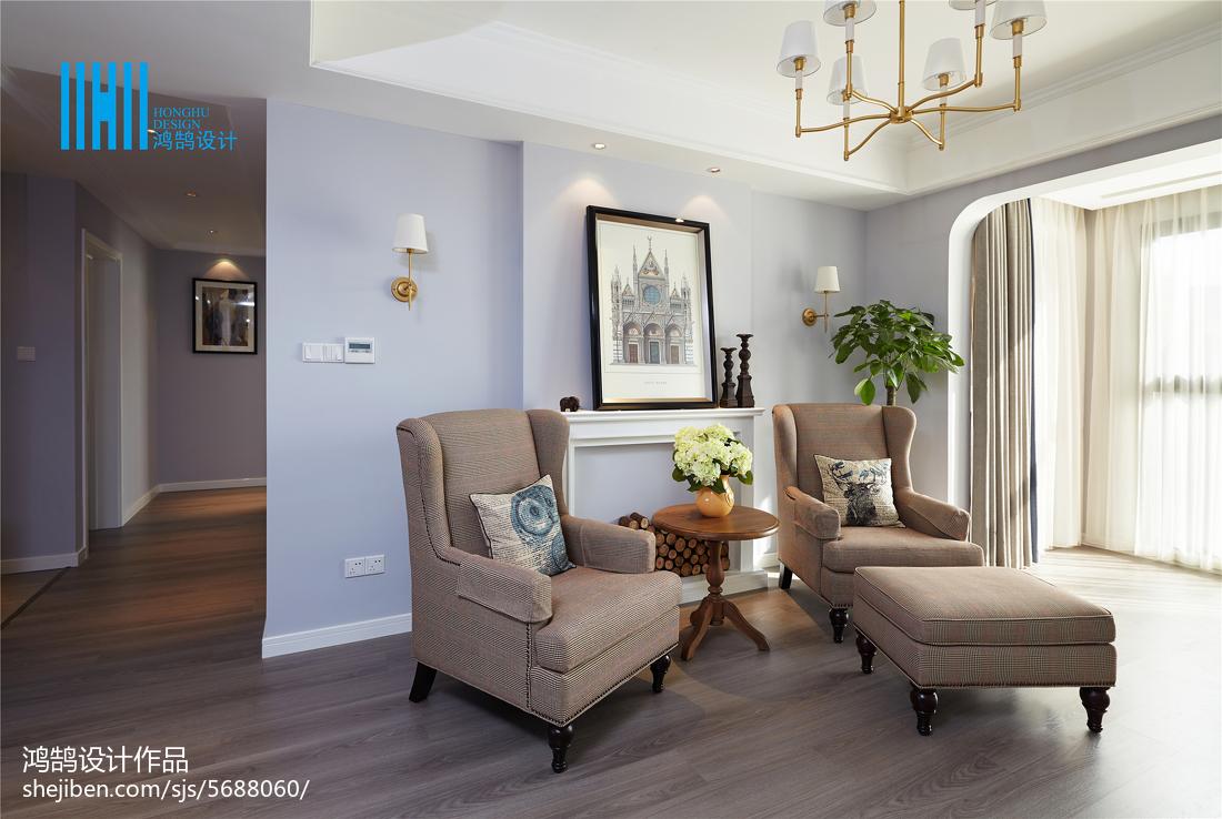 优美123平美式三居客厅图片欣赏