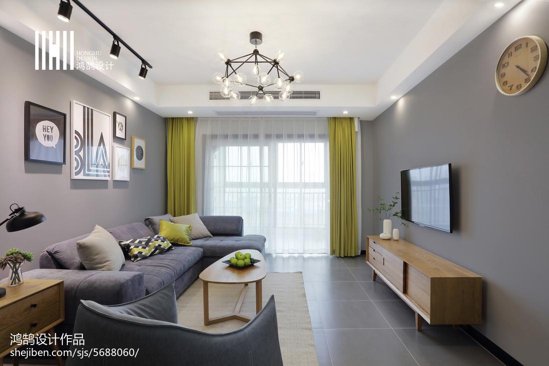 热门面积71平北欧二居客厅装修设计效果图片