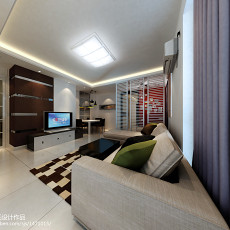 热门79平米二居客厅简约装修实景图片大全