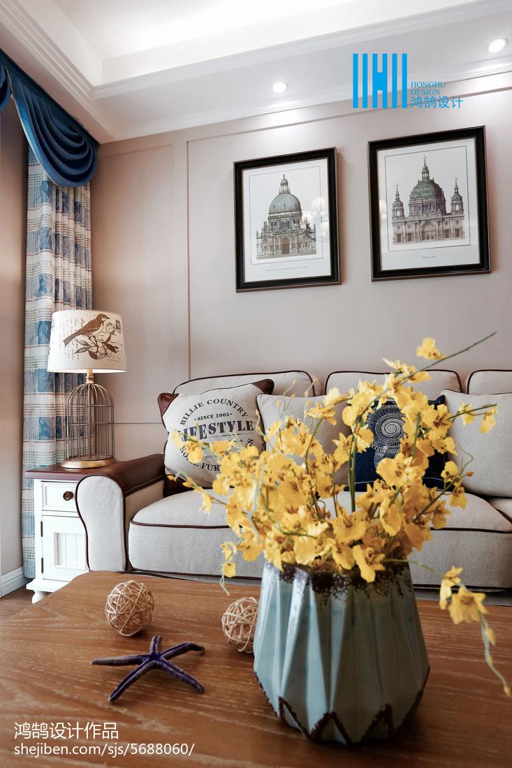 精美74平米二居客厅美式装修实景图片欣赏