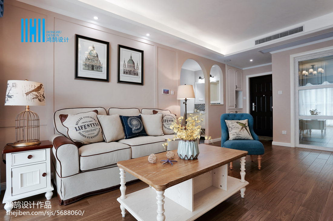 精选面积75平美式二居客厅装修欣赏图片大全