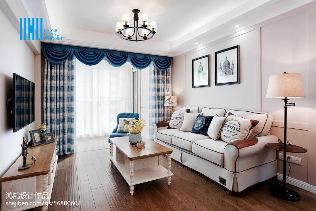 2018面积87平美式二居客厅装修设计效果图片欣赏