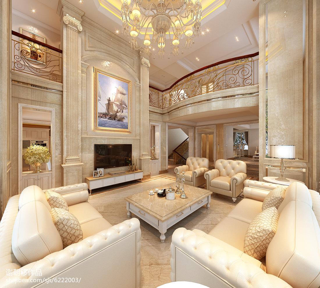 135平米欧式别墅客厅实景图片