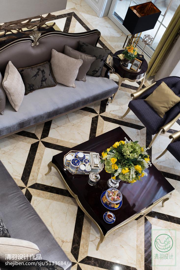 2018精选面积138平别墅客厅新古典装修设计效果图片